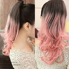 Stylish Women Mix Color Clip-In Synthetic Wavy Curly Ponytail Hair Extension New
