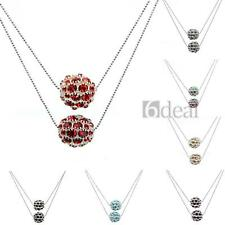 Women's Double Layer Crystal Glass Balls European Beads Pendant Necklace Fashion