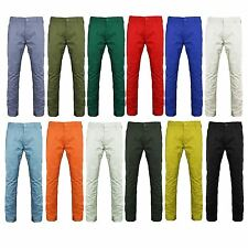 MENS CHINO JEANS KUSHIRO PANTS STRAIGHT LEG COLOURED TROUSERS BOTTOMS CASUAL