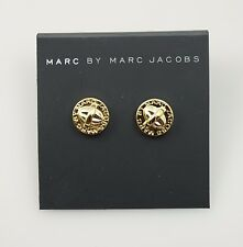 Marc by Marc Jacobs Turnlock Disc Gold Tone Stud Earrings,NWT