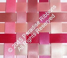 FULL ROLLS Berisfords Double Satin Ribbon 10 PINK SHADES Choose Width + Shade