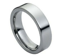 6mm Men's or Ladies Tungsten carbide Flat Pipe Cut Shiny wedding band ring