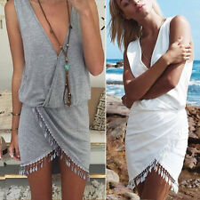 Fashion Womens Boho V-Neck Summer Beach Sleeveless Party Evening Mini Wrap Dress