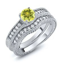 1.35 Ct Round Canary Mystic Topaz 925 Sterling Silver Ring