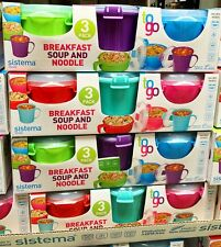Sistema 3 Pack To Go Breakfast, Soup & Noodle Bowl Set - Brand New