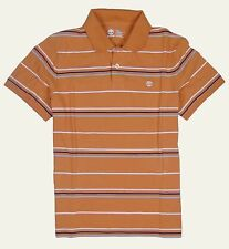 Timberland Men's Short Sleeve Striped Rugby Orange Polo Shirt Style #6852J