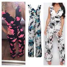 NEW WOMENS LADIES FLORAL PRINT V FRONT PALAZZO TROUSER LOOK ALL IN ONE JUMPSUIT