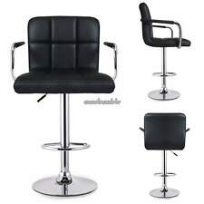 SET of (2) Bar Stools Leather Modern 360 Swivel Dinning Chair Metal Barstools