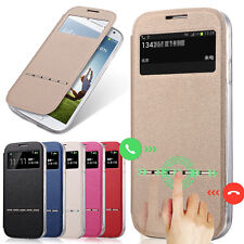 Luxury Flip Window View Leather Smart Case Cover For Samsung Galaxy S4 I9500