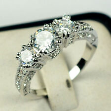 Rings Size J-Y Costume Jewellery Women's Sapphire 10Kt White Gold Filled Wedding