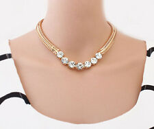 Luxury Party Jewelry Crystal Chunky Statement Chain Pendant Necklace Bib Choker