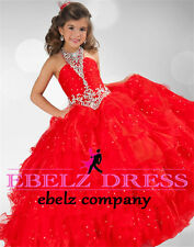 Red Flower Girl Dresses Party Dance Dress Formal Ball Gown Stock Size 6 8 10 12
