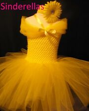 Pink Princess Bridesmaids Pageants Tutu Dress & Hair band Yellow, White Cream