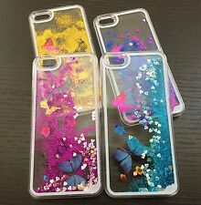 For iPhone SE 5S - HARD CASE COVER Flowing Sparkle Liquid Glitter Butterfly