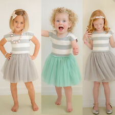Cute Summer Baby Kids Girls Party Wedding Princess Striped Gown Fancy Dress 2-7Y