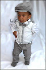 Baby Boy Grey Christening Baptism Pageboy Formal Party Smart Suit 5 Pcs Outfit