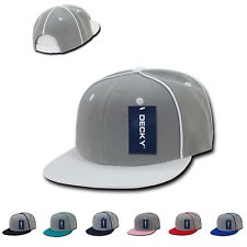 DECKY Piped Crown Snapback Two Tone 6 Panel Flat Bill Hats Hat Caps Cap