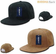 DECKY Faux Suede Snapback Baseball 6 Panel Flat Bill Hats Hat Caps Cap