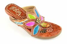 Corkys Elite Leather Hand Painted Sandal Shoe Abyss Tan Multi Colored NEW