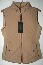 ZARA WOMAN Quilted Waistcoat Vest with Piping and Buckle Collar
