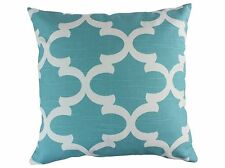 Aqua Quatrefoil Decorative Throw Pillow Cushion Cover Blue Hidden Zipper Pillow