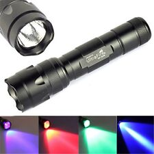 New WF-502B LED Red/Green/UV/Blue Tactical Light Hunting Flashlight Torch Lamp