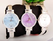 Elegant Woman Girl  Lady Butterfly dail casual Steel Round Bangle Watch KW41