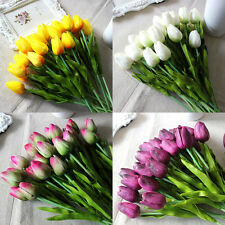12/24 Real Touch Tulip Latex Artificial Flower Bridal Bouquet Party Home Decor