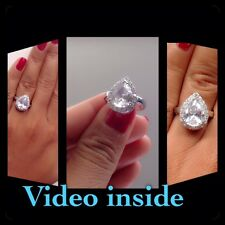 Fab**Pear Cut Engagement Ring Diamond Wedding Ring Platinum Made in Italy Size 8