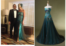 New Long Bridesmaid Evening Dress Formal Peacock Party Dress Gown Prom Dress