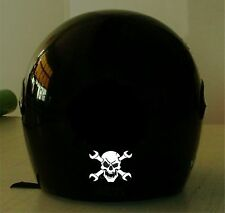 SKULL WITH WRENCHES REFLECTIVE MOTORCYCLE HELMET DECAL.2 FOR 1 PRICE