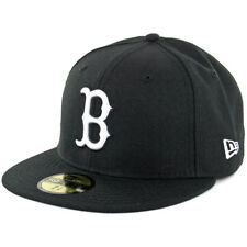 New Era Boston Red Sox BK WH BK Fitted Hat (Black/White) Men's 59Fifty Cap