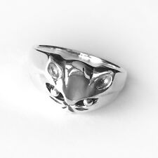 Size 5~10- CAT FACE Sterling Silver Ring- Highly Polished