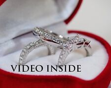 3.+CTPrincess Cut 3Pcs Wedding Ring Set Engagement Ring Platinum Made in Italy