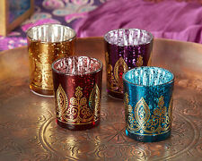 Boho Moroccan Indian Henna Glass Candle Holder Votive Bridal Wedding Favor 24-60