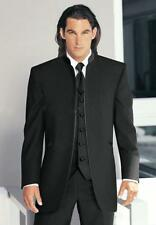 New Classic Vintage Top Black Groom Tuxedos Stand Collar Best Man Suits Wedding