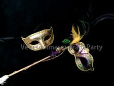 Couple Stick Feather flower Costume dress up midnight Masquerade Ball eyes Mask
