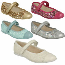 DANCE IDOL INFANTS GIRLS CLARKS GLITTER STRAP BALLERINA PARTY SHOES SIZE