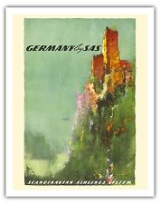 Germany Rhine River Valley Castle Vintage Airline Travel Art Poster Print Giclee