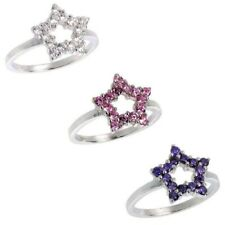 Sterling Silver Ladies Star Cut Out Ring w/ Brilliant Cut CZ Stones