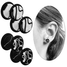 2 Fakeplugs Fake Plug Tunnel Piercing Ear Earring Black and White Marble 12mm