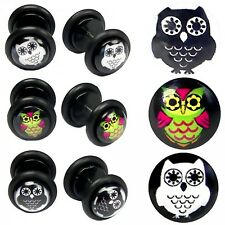 2 Fakeplugs Fake Plug Tunnel Piercing Ear Earring Colorful Black White O-Ring