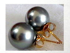 6mm 8mm 10mm BLACK GREY Sea Shell Pearl Stud Earrings 14K Solid Yellow Gold Post