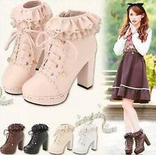 New Lolita Princess Lace Platform Block Heel Womens Vogue Boots Dress Shoes Size