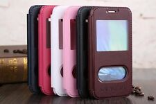 Flip Dual View Double Window Stand PU Leather Cover KLX Case For Samsung Galaxy