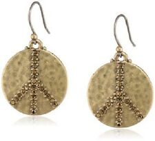 LUCKY BRAND Crystal Antique Gold Tone Peace Sign Bohemian Drop Earrings, NWT