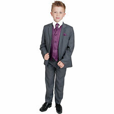 Boys Suits Boys Grey Purple Waistcoat Suit Wedding PageBoy Formal Party 5pc Suit