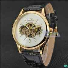 HOT Leather Band Classic Smooth Alloy Case Mechanical Vintage Mens Wristwatch