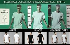 LACOSTE ESSENTIALS COLLECTION 3PACK SUPIMA COTTON CREW NECK T-SHIRTS RAM8701 NWB