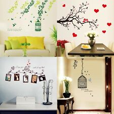 Birds Birdcage Leaf Heart Removable Wall Stickers Art Decal Mural DIY Home Decor